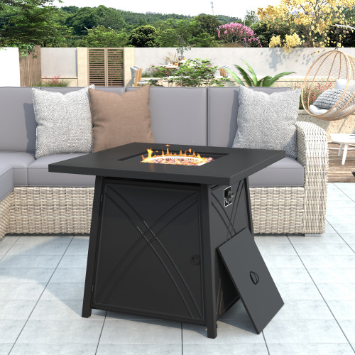 Outdoor Propane Gas Fire Pit Table with Stainless Steel Heater and Control Knob