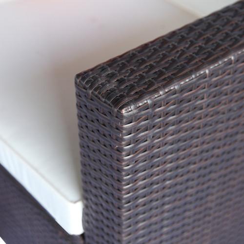 TOPMAX 4 Piece Cushioned Outdoor Patio PE Rattan Furniture Set Sectional Garden Sofa (Brown Rattan+Beige Cushion)