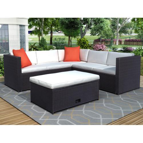 4 Piece Cushioned Outdoor Patio PE Rattan Furniture Set Sectional Garden Sofa (Brown Rattan+Beige Cushion)