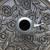 Rose Pattern Weave Round Metal Patio Umbrella Base in Antique Bronze/ Mattee Black