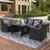 Outdoor Patio Furniture Set 4-Piece Conversation Set Black Wicker Furniture Sofa Set with Dark Grey Cushions