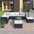 GO 9-piece Outdoor Patio PE Wicker Rattan conversation Sectional Sofa sets with 3 sofa, 3 corner sofa, 2 ottomans, and 1 glass coffee table, removable soft cushions (Black wicker, Beige cushion)