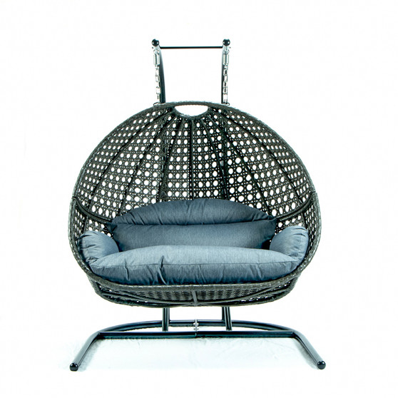 Brown Wicker Double Seat Patio Swing Chair with Blue Cushion