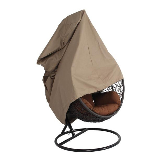Large Beige Round Single Patio Swing Chair Cover