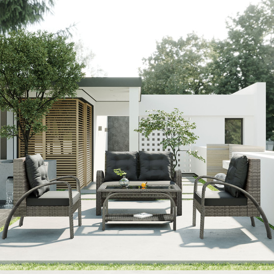 4-Piece  All-Weather Outdoor PE Wicker Conversation Set with Tempered Glass Storage Tea Table and Gary Cushions