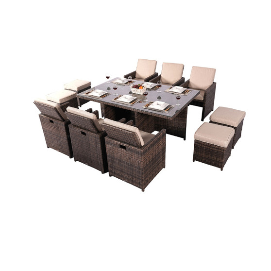 Direct Wicker Alana 11 Piece Patio Dining Set Outdoor Dining Table with Beige Cushions