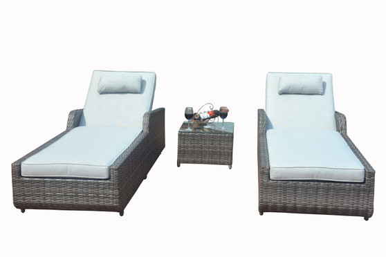Direct Wicker 3-Piece Patio Furniture Wicker Chaise Lounge Adjustable Back with Cushion