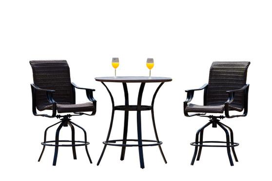 Direct Wicker Black 3-Piece Metal Outdoor Serving Bar Set