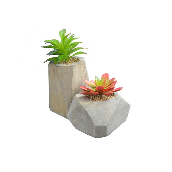 Succulent Artificial Green Plants with Wood Box for Home Décor