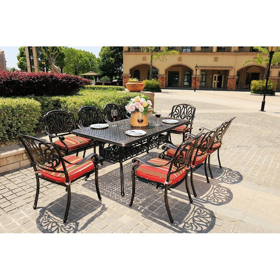 Outdoor 9-Piece All-Weather Alum Casting Garden Dining Set
