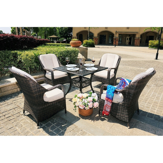 5-Piece Alum Casting Outdoor Patio Dining Set Rattan Chairs