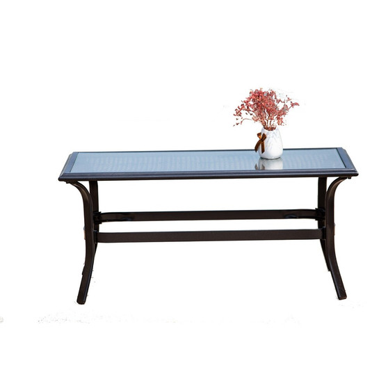 Direct Wicker Black Rectangle Metal Outdoor Coffee Table