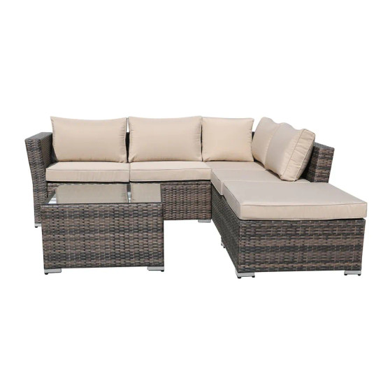 4-Piece Outdoor Sectional Sofa Set with Cushion