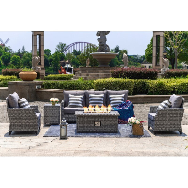 5-Piece Outdoor Wicker Patio Sofa Set with Gas Fire Pit Table, Burner System and Cushions by Direct Wicker