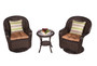 Dark Brown 3-Piece Wicker Patio Bistro Set with Round Coffee Table and Brown Cushions
