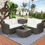 4-Pieces Brown PE Rattan Wicker Outdoor Sectional Sofa Set with Beige Cushion