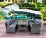 3-Pieces Gray Wicker Sectional Sofa Set with Rectangle Dining Table and Gray Cushions