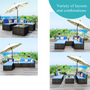 Black 5-Piece Wicker Patio Conversation Sectional Seating Set with Blue Cushions