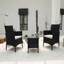 Brown 3-Piece Wicker Outdoor Bistro Set with White Cushions
