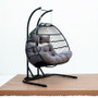 Black  Steel Double Seat Patio Swing Chair with Anthracite Cushion