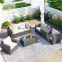 Patio 7-Piece Wicker Conversational Sofa Set with a Storage Box