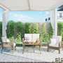 Patio 4 Piece Rattan Sofa Seating Group with Cushions