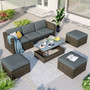 Patio 5-Piece Wicker Conversational Sofa Set with Adjustable Backrest, Cushions, Ottomans and Lift Top Coffee Table