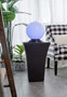 Black Polyresin Outdoor Lighted Fountain with White Sphere Sits