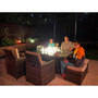 9-Piece Outdoor Rectangle Gas Fire Table Patio Wicker Dining Set