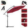 10 FT Solar LED Patio Outdoor Umbrella Hanging Cantilever Umbrella Offset Umbrella Easy Open Adustment with 24 LED Lights - Burgundy