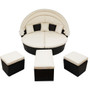Outdoor rattan daybed sunbed with Retractable Canopy Wicker Furniture, Round Outdoor Sectional Sofa Set, black Wicker Furniture Clamshell Seating with Washable Cushions, Backyard, Porch, Beige.