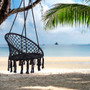 Black Swing,Hammock Chair Macrame Swing,Max 330 Lbs Hanging Cotton Rope Hammock Swing Chair for Indoor and Outdoor