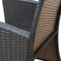 4 Pieces Outdoor Patio Set All-Weather Rattan Loveseat and Chairs with Tempered Glass Tabletop, Cushioned Seats for Garden, Lawn and Backyard (Brown)
