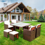 9 Pieces Patio Dining Sets Outdoor Space Saving Rattan Chairs with Glass Table Patio Furniture Sets Cushioned Seating and Back Sectional Conversation Set