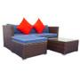 3 Piece Patio Sectional Wicker Rattan Outdoor Furniture Sofa Set