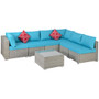 Wicker Sectional Cushioned Sofa Sets with 2 Pillows and Coffee Table