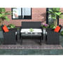 4 Pieces Outdoor Patio Set All-Weather Rattan Loveseat and Chairs with Tempered Glass Tabletop, Cushioned Seats for Garden, Lawn and Backyard (Black)