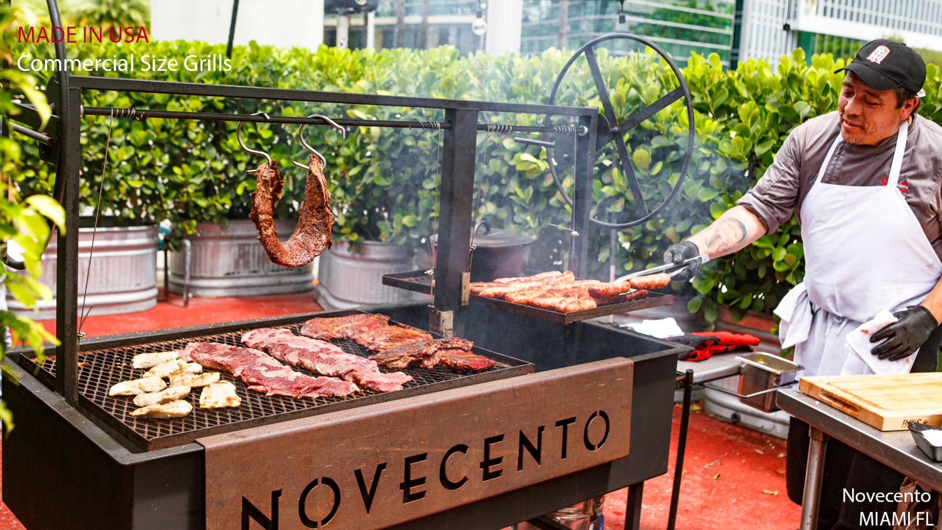 Commercial Argentine Style BBQ Grill cooking mouth watering asado.