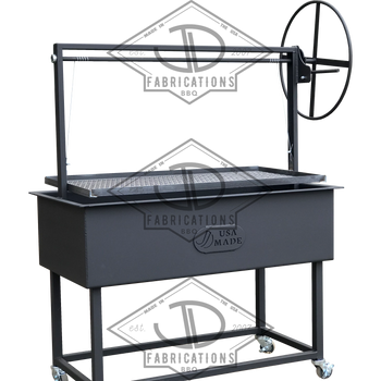 Steel Santa Maria Argentine BBQ Grill with height adjustable grill grate.