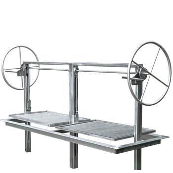 stainless santa maria argentine drop in frame with height adjustable rotisserie.