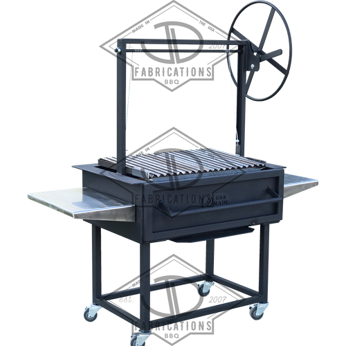 Santa Maria Argentine BBQ Grill with front fold down door argentine V sloped grates.
