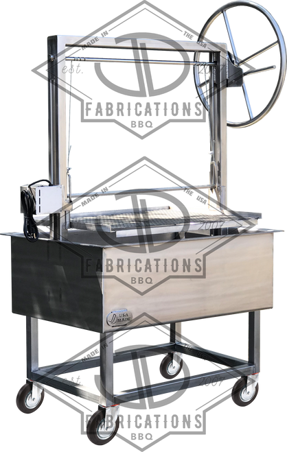 Stainless Santa Maria Argentine BBQ Grill with Height adjustable rotisserie. Portable design easy to move.