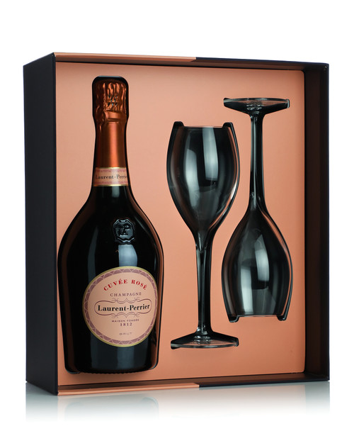 Laurent Perrier Cuvee Rose NV champagne with Glass Set Gift Box