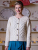 Aran Cable Knit Cardigan - Natural White