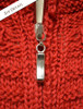 Zipper Detail of Women's Zip Aran Cardigan - Red