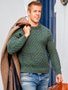 Mens Traditional Aran Irish Wool Sweater - Moss
