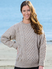 Cable Knit Crew Neck Aran Wool Sweater - Skiddaw