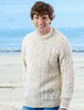 Men's Cable Knit Crew Neck Aran Wool Sweater - White Fleck
