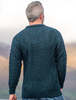 Men's Cable Knit Crew Neck Aran Wool Sweater - Blackwatch - Back