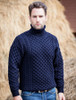 Mens Wool Turtleneck Sweater - Navy